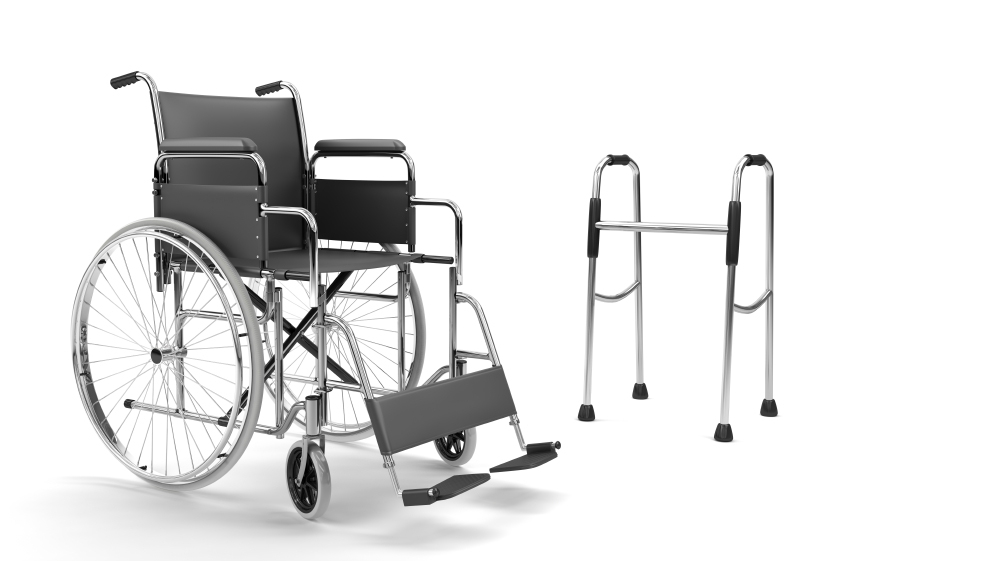 wheelchair and walking frame